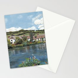 English Cottages by a River. Stationery Cards