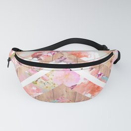 Vintage floral watercolor rustic brown wood geometric triangles Fanny Pack