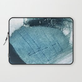 Pacific: a minimal abstract mixed media piece in blues and white Laptop Sleeve