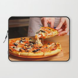 Woman hands sliced pizza. Laptop Sleeve