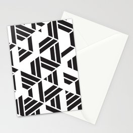 Black and White Hexagon Geometric Pattern Stationery Cards