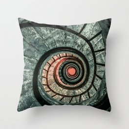Pretty green spiral staircase Throw Pillow