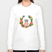 leah flores Long Sleeve T-shirts featuring Scout con Flores by Leah Romero