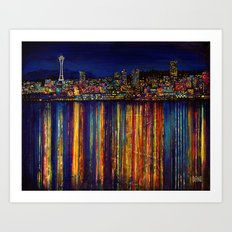 Seattle Night Skyline #2 Art Print