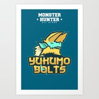 monster hunter Art Prints featuring Monster Hunter All Stars - The Yukumo Bolts by Bleached ink