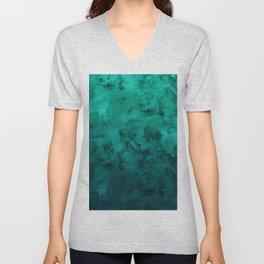 Modern deep green tropical winter ombre watercolor Unisex V-Neck