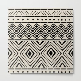 African Mud Cloth // Bone Metal Print
