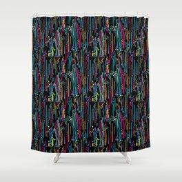 Black Rainbow Doodle & Dot Shower Curtain