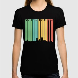 Retro 1970's Council Bluffs Iowa Skyline T-shirt