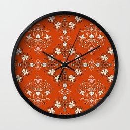 Vintage Floral - Rust Orange Wall Clock