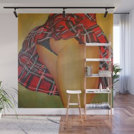 Young Girl Flirting Tease Me in Tartan Wall Mural