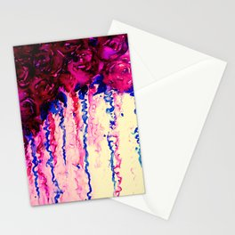 PETALS ON PARADE, Oxblood Marsala Red Royal Blue Floral Abstract Watercolor Roses Flowers Painting Stationery Cards