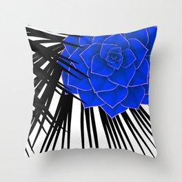 Big Bold Indigo Echeveria Illustration Throw Pillow