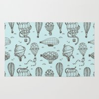 hot air balloons Area & Throw Rugs featuring Hot Air Balloons by PatternInk