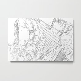 cycle motor, drawing Metal Print