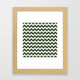 Large Dark Forest Green and White Chevron Stripe Pattern Framed Art Print
