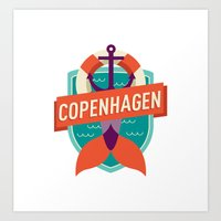 copenhagen Art Prints featuring Copenhagen by Fedi