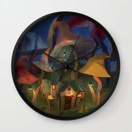 Cottage in the Mushroom forest Wall Clock
