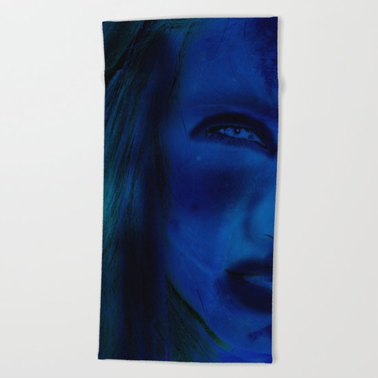 Blue Woman Beach Towel