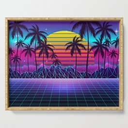 Radiant Sunset Synthwave Serving Tray