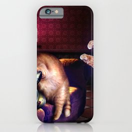 Kitty Cat Gamer Playing Horror Video Game iPhone Case