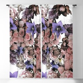 vintage Floral foliage pink and purple Blackout Curtain