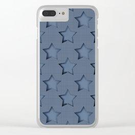"""Blue denim """"Stars"""". Clear iPhone Case"""