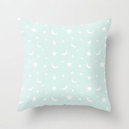 White moon and star pattern on baby blue background Throw Pillow