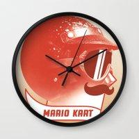 mario kart Wall Clocks featuring Mario Kart by Chase Kunz