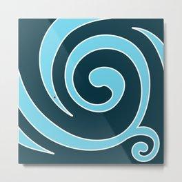Tribal Ocean Wave Swirl Metal Print