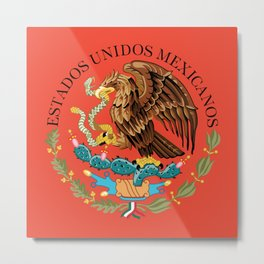 Mexican Coat of Arms Seal on Adobe Red Metal Print