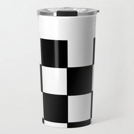 Checkered,black and white pattern  Travel Mug
