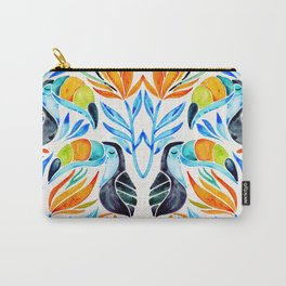 Tropical Toucans – Blue Leaves Carry-All Pouch