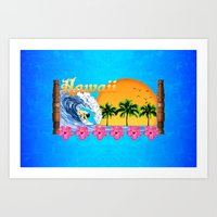 hawaiian Art Prints featuring Hawaiian Surfing by MacDonald Creative Studios