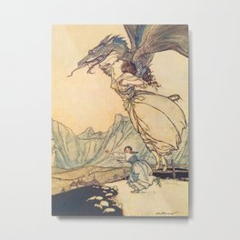 """The Dragon Caught the Queen"" by Arthur Rackham Metal Print"