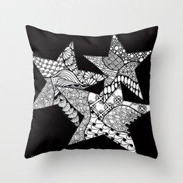 Midnight Zentangle Stars Black and White Illustration Throw Pillow