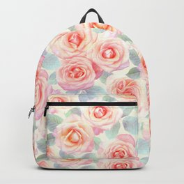 Faded Vintage Painted Roses Backpack