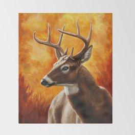 Whitetail Deer Buck Throw Blanket