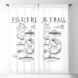 Volleyball Old Vintage Patent Drawing Print Blackout Curtain