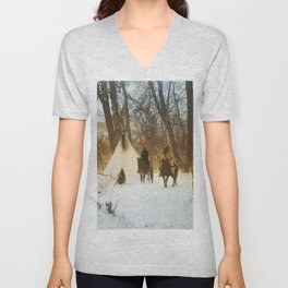 The winter camp - Crow (Apsaroke) Indians Unisex V-Neck