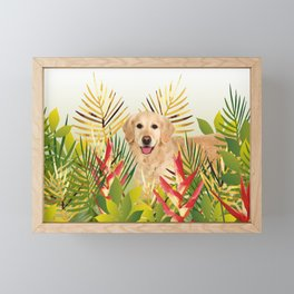 Golden Retriever Dog Garden Framed Mini Art Print