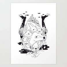 Animal's hat Art Print