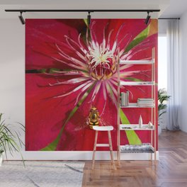 Flowers & bugs RED PASSION FLOWER & HOVERFLY Wall Mural