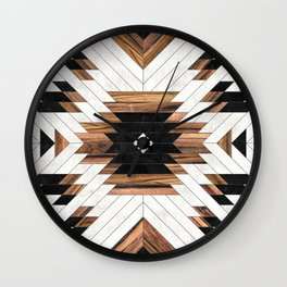 Urban Tribal Pattern No.5 - Aztec - Concrete and Wood Wall Clock