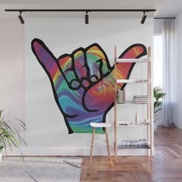 Shaka Hands with Tie Dye, trending sticker Wall Mural