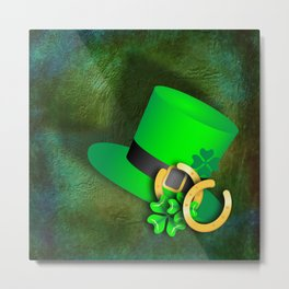 Symbols of luck on green textured background Metal Print
