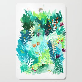 Twice Last Wednesday: Abstract Jungle Botanical Painting Cutting Board
