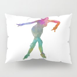 Woman in roller skates 08 in watercolor Pillow Sham