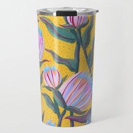 Bold Protea Flower Pattern - Pink Blue Green Purple Yellow Travel Mug