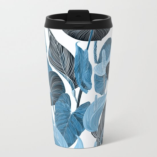 Lush Lily - chambray Metal Travel Mug